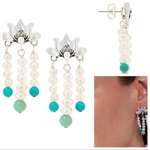 Carolyn Pollack Lotus Flower SS Pearl Earrings